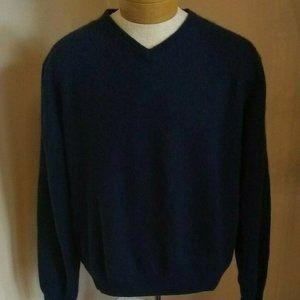 Brooks Brothers 100% Cashmere Sweater NAVY V-neck